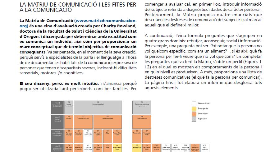 Captura de l'article en què s'hi detalla el funcionament de la Matriu de comunicació i un exemple d'aquesta eina